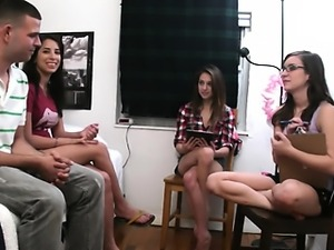 Teen coeds playing with dildo dick