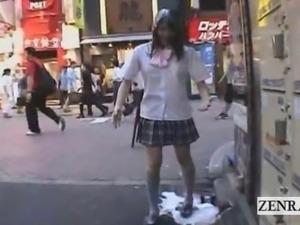 Subtitled extreme Japan public embarrassing semen prank