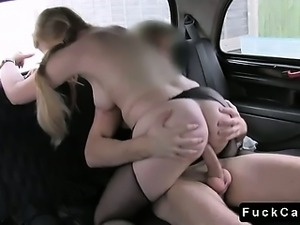 Busty blonde fucks driver in his fake taxi