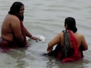 Bathing  in River nice Desi