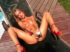 Hardcore action as beautiful brunette Leyla Black lies down naked outside,...