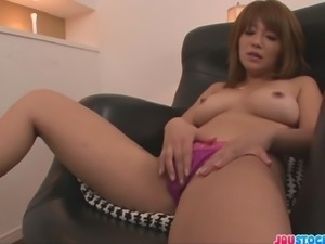 Rika Aina is a hot Asian porn babe in tight stockings and loves playing with...