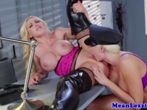 Lezdom slut licks out lady officers box