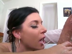 India Summer slobbering and excited while blowing and deep-throating a...
