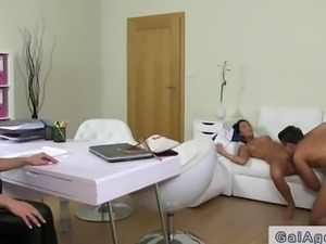 Female agent watching sex on casting