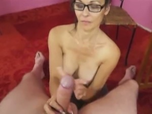 Sexy aunt trudy lewis tugs her nephew's cock