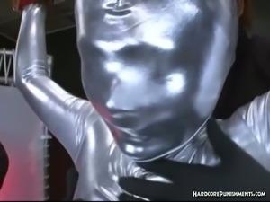 Poor asian chick got exploited in full body suit