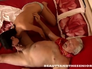 Petite beauty getting fucked by dirty old man