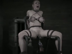 Blonde's back-breaking bondage and pussy toying