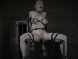 Blonde's back-breaking bondage and pussy toying