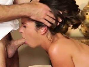 Petite Delilah Davis gives masseur a bj