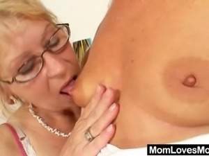 Huge natural tits grannie is very foxy and still orgastic so she seduces...