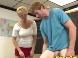 Cougar mature tugging her students cock