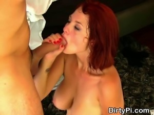 Cheating red headed amateur housewife taking big cumshot on her nice natural...