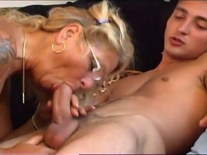 Mature lady has a good time with a younger mate.