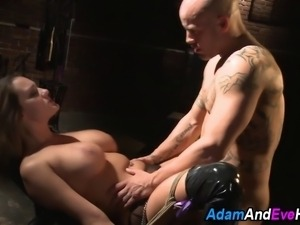 Busty kinbaku bound sub sucks and rides cock in kinky fetish fuck