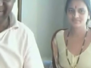 Indian wife shows her tits on webcam