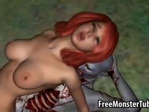Mouth watering 3D cartoon redhead hottie getting fucked hard outdoors by a...