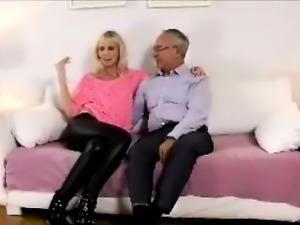 Amateur blonde poses for older British man