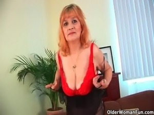 Hairy grandma with big tits has solo sex with a dildo free