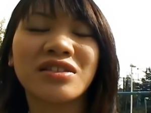 Asian Model satisfies her cunt outdoor