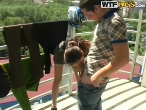 skinny russian chick gets picked up to suck cock