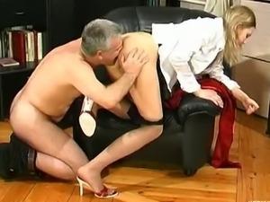 Older guy Caspar licks schoolgirl Louisa's pussy