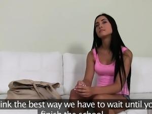 Small tits brunette amateur fucks on casting