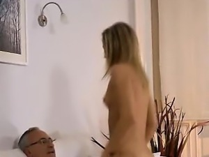 Teen babe sucks and rides old guy