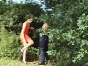 Couple Seduce Older Stranger in Woods