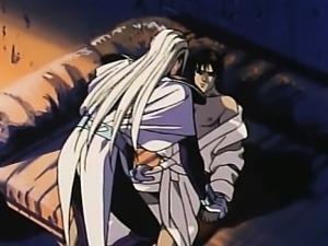 White hair hentai guy touching innocent guy