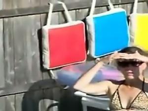 Woman In A Bikini In The Pool
