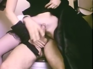 Vintage brunette rides a hard rod of meat