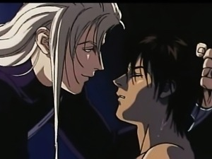 White hair hentai guy touching innocent guy