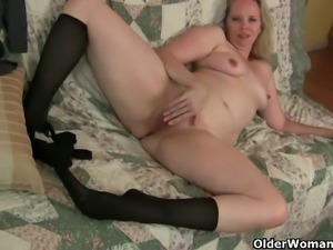 Kinky mature sluts strip and masturbate for you