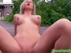 Picked up busty euro amateur loves outdoor public fuck