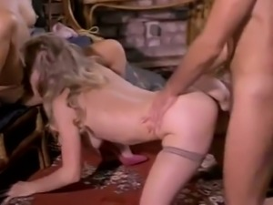 Vintage blonde and brunette sluts share a cock