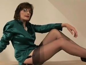 British milf gets cum and tugs cock