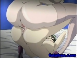 Two hentai shemales ass fucking in bed