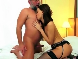 Grandpa loves hot young brunette
