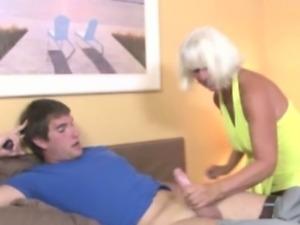 Handjob loving granny tugging dick
