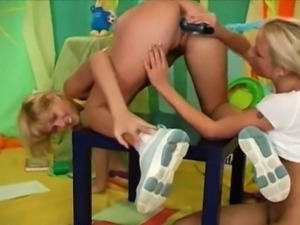 Lesbians fucked by toy