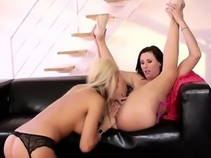 Stockings milf toys lesbos pussy