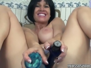 Brunette milf dildos her ass and cunt for you