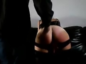My slut gagging and getting spanked