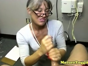 Busty spex cougar tugs hard dick