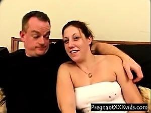 Threesome sex For pregnant Slut