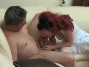 Horny redhead spying to see and get cock