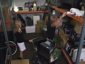 Hot blonde Milf screwed up by pawnkeeper in storage room