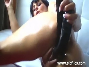 Hot milfs dildo their cunts and asses while posing